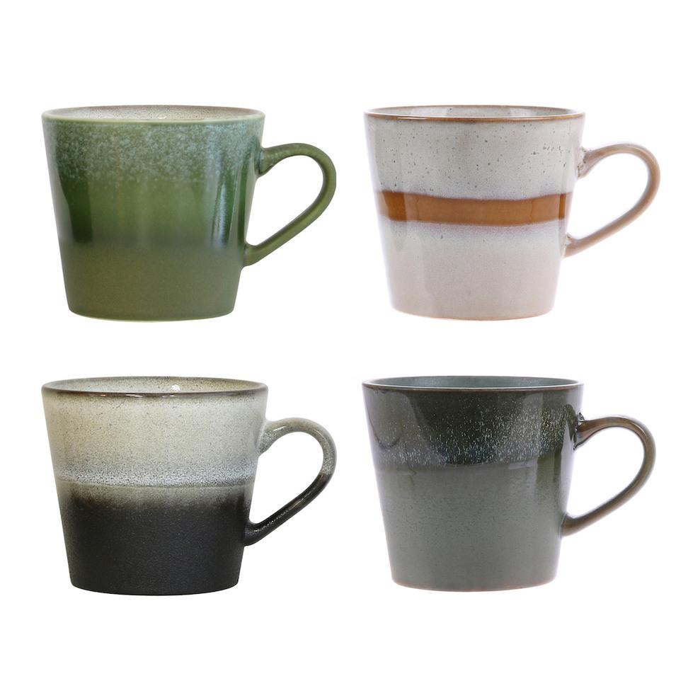 Ceramic 70s Cappucino Mugs - Set of 4