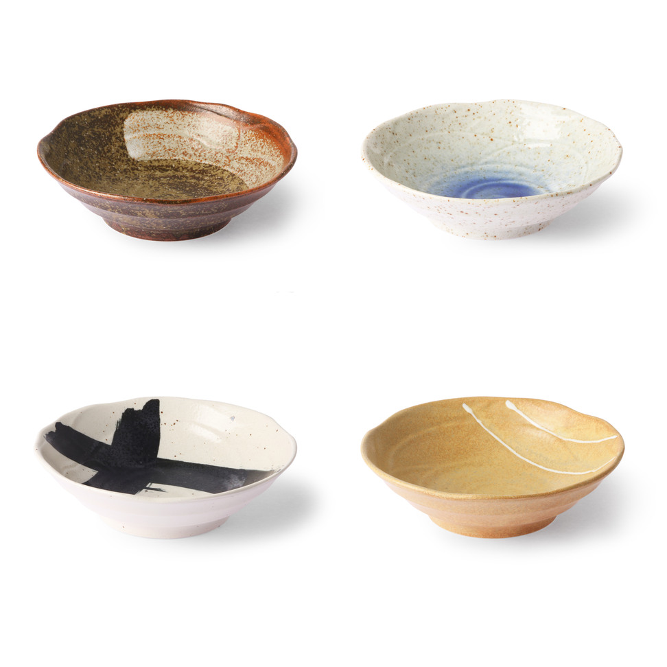 Japanese Ceramic Shallow Bowl - set of 4 pcs
